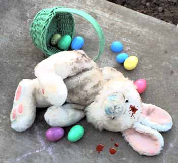 The gruesome sight that awaited eager egg hunters.