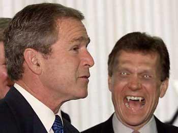 Baron Vonk attacks an obviously unsuspecting Bush.